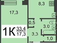 1-комнатная квартира - лучшая цена Выгодная покупка!   1-комнатная квартира - лучшая цена.   Микрорайон «Мещерское озеро». Площадь квартиры 35/17/9, н, Нижний Новгород - Продажа квартир
